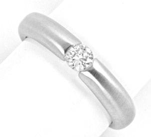 Foto 1, Weissgold Diamant Spann Ring 0.23ct Brillant Luxus! Neu, S4107