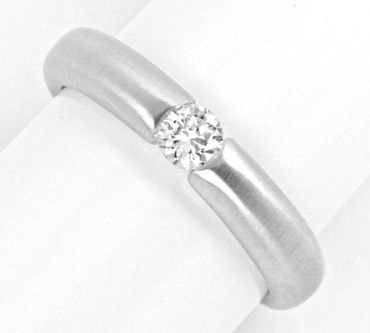 Foto 2, Weissgold Diamant Spann Ring 0.23ct Brillant Luxus! Neu, S4107