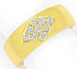 Foto 1, Diamant Ring 0,31ct Brillanten River Lupenrein Gelbgold, S4122
