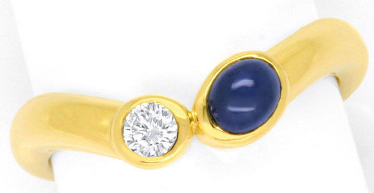 Foto 2, Goldring Brillant 0,13ct River, Safir Saphircabocon 18K, S4123