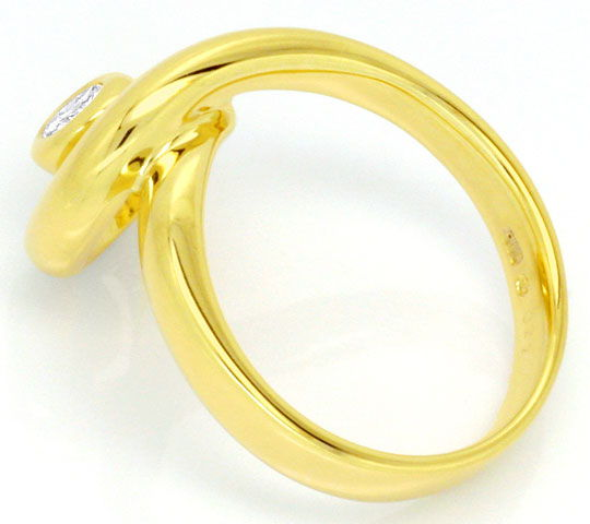 Foto 3, Brillant-Ring Solitär 0,22ct Top Wesselton 14K Gelbgold, S4128