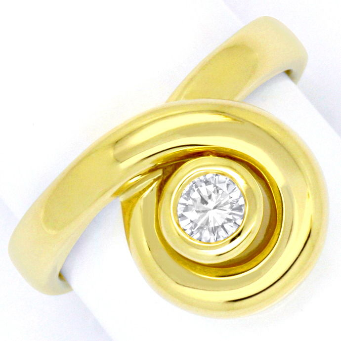 Brillant Ring Solitär 0,22ct Top Wesselton 14K Gelbgold, Designer Ring