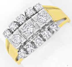 Foto 1, Goldring 0,62 Carat Diamanten und Brillianten, 14K Gold, S4137