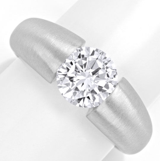 Foto 2, Diamant-Spann-Ring 1,89ct Brillant G Si, 18K-Wg Schmuck, S4141
