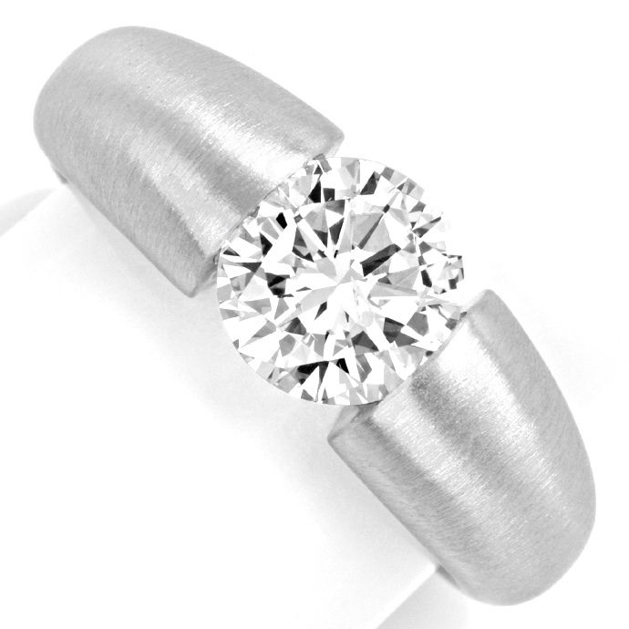 Diamant Spann Ring 1,89ct Brillant G Si, 18K Wg Schmuck, Designer Ring
