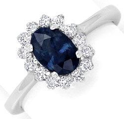 Weißgold ring mit saphir  Diamant-Safir-Ring Brillanten 1 ct Saphir 18K Weissgold, S4144