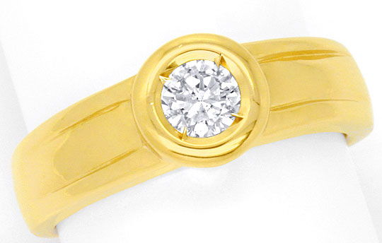 Foto 2, Diamant Ring 0,31ct Brillant Top Wesselton Solitaer 14K, S4150