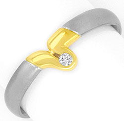 Foto 1, Platin Gelbgold Brilliant Ring Schlaufe River Brilliant, S4152