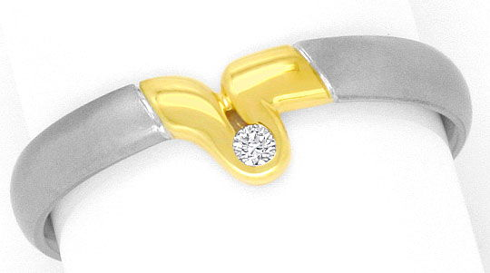 Foto 2, Platin Gelbgold Brilliant Ring Schlaufe River Brilliant, S4152
