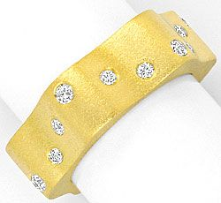 Foto 1, Designer Brillanten Ring 18K Gelb Gold, Wellen Goldring, S4162