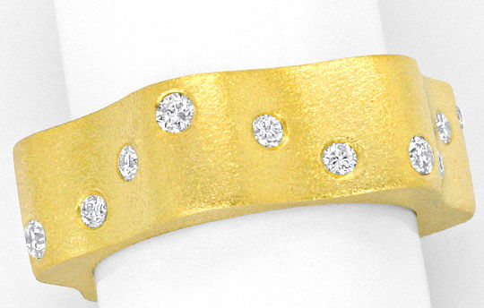 Foto 2 - Designer Brillanten Ring 18K Gelb Gold, Wellen Goldring, S4162