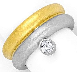 Foto 1, Super Massiv Designer Brillant Solitär Ring Bicolor 18K, S4166