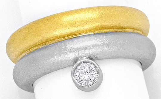 Foto 2, Super Massiv Designer Brillant Solitär Ring Bicolor 18K, S4166