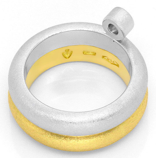 Foto 3, Super Massiv Designer Brillant Solitär Ring Bicolor 18K, S4166