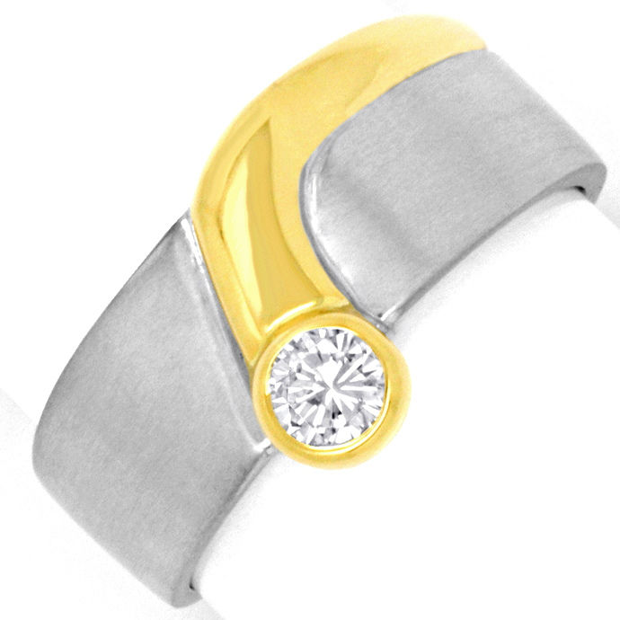 Platin Gold Brillantring 0,18ct Solitär River Lupenrein, Designer Ring