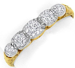 Foto 1, Original antiker Diamant-Ring 0,42ct Gelbgold Weissgold, S4173