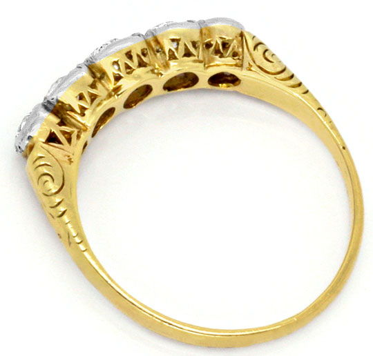 Foto 3, Original antiker Diamant-Ring 0,42ct Gelbgold Weissgold, S4173