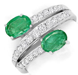 Foto 1, Top Smaragde Diamanten Ring in Weissgold, 0,93 Emeralds, S4191