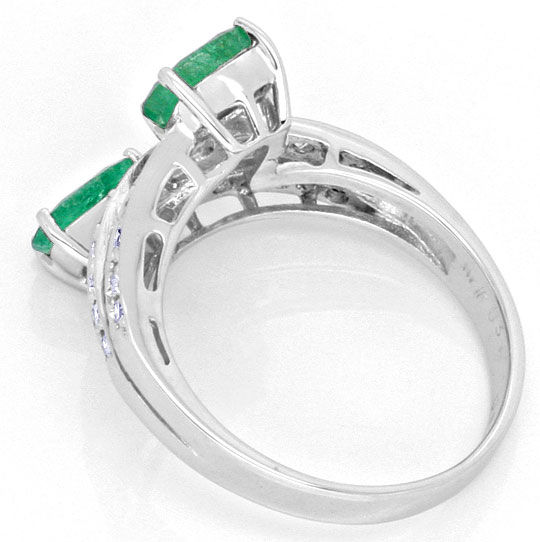 Foto 3, Top Smaragde Diamanten Ring in Weissgold, 0,93 Emeralds, S4191