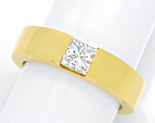 Foto 1, Ring mit 0,8ct Princess Diamant 18K Gelbgold Luxus! Neu, S4204