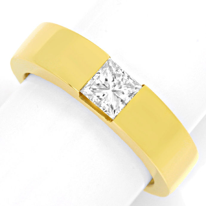 Ring mit 0,8ct Princess Diamant 18K Gelbgold Luxus! Neu, Designer Ring