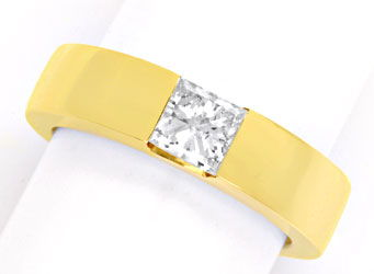 Foto 1 - Ring 0,73ct H SI2 Princess Diamant, 18K Gelbgold Luxus!, S4206