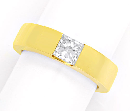 Foto 2 - Ring 0,73ct H SI2 Princess Diamant, 18K Gelbgold Luxus!, S4206