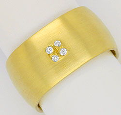 Foto 1, Breiter super massiver Brilliant Diamant Ring Gelb Gold, S4247