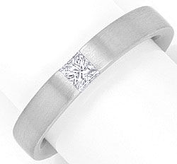 Foto 1, Diamant Ring Weiss Gold 0,19ct Princess River Lupenrein, S4248
