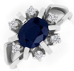 Foto 1, Brillanten Safir Ring, Weiss Gold 14K/585 1,95ct Saphir, S4255