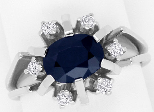 Foto 2, Brillanten Safir Ring, Weiss Gold 14K/585 1,95ct Saphir, S4255