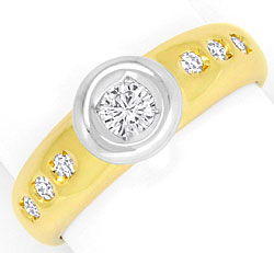 Foto 1 - Brillant Diamanten Ring 0,30ct River Lupenrein Gelbgold, S4259