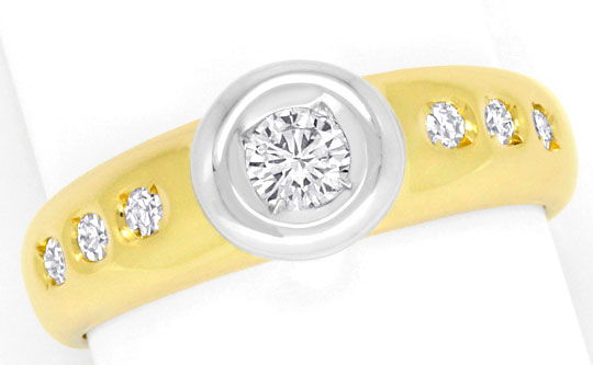 Foto 2 - Brillant Diamanten Ring 0,30ct River Lupenrein Gelbgold, S4259