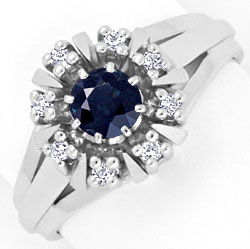 Foto 1 - Safir Ring in 14K / 585 Weissgold mit 8 River Diamanten, S4264