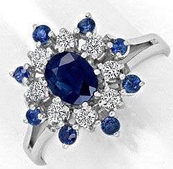 Foto 1, Safir Diamant Ring 0,38 River Brillanten 1,18ct Saphire, S4268