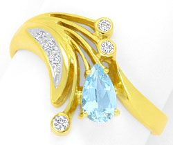 Foto 1, Brillianten Diamanten Aquamarin Tropfen Ring Top Design, S4295