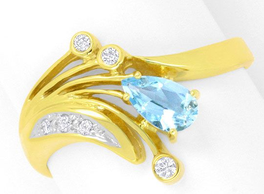 Foto 2, Brillianten-Diamanten-Aquamarin-Tropfen-Ring Top-Design, S4295