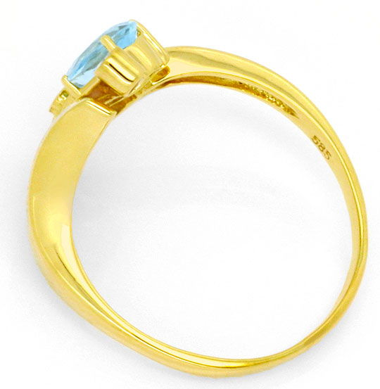 Foto 3, Brillianten-Diamanten-Aquamarin-Tropfen-Ring Top-Design, S4295
