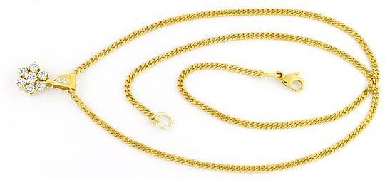 Foto 1, Brillianten Diamanten Collier Gold Kollier 0,51ct River, S4299