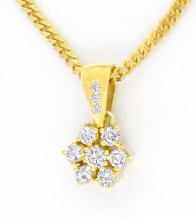 Foto 2, Brillianten Diamanten Collier Gold Kollier 0,51ct River, S4299