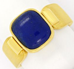 Foto 1, Massiver Gold Handarbeits Ring Kissenförmiger Lapis 18K, S4343