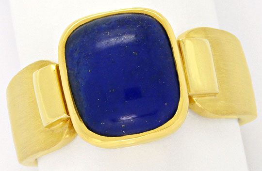 Foto 2, Massiver Gold Handarbeits Ring Kissenförmiger Lapis 18K, S4343