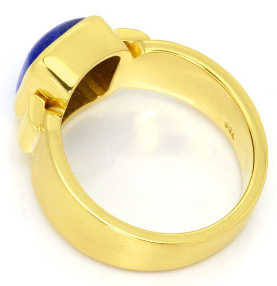 Foto 3, Massiver Gold Handarbeits Ring Kissenförmiger Lapis 18K, S4343