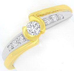 Foto 1, Moderner Brillanten Diamanten Ring Gelb Gold Weiss Gold, S4440