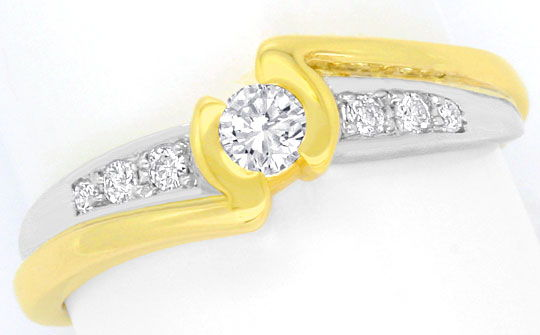 Foto 2, Moderner Brillanten Diamanten Ring Gelb Gold Weiss Gold, S4440