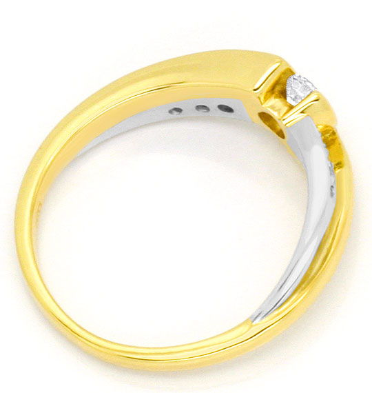 Foto 3, Moderner Brillanten Diamanten Ring Gelb Gold Weiss Gold, S4440