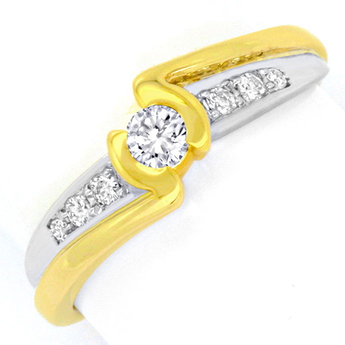 Moderner Brillanten Diamanten Ring Gelb Gold Weiss Gold, Designer Ring