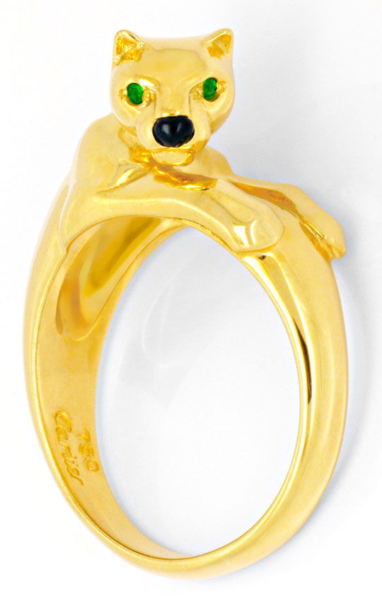 Foto 2, Cartier Ring Ziga Panther Onyx Smaragde Gelbgold Luxus!, S4447