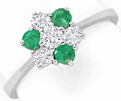 Foto 1, Smaragd Diamant Ring, Emeralds und Brillanten Weissgold, S4453