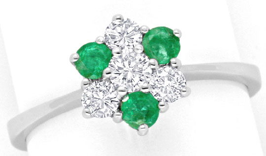 Foto 2, Smaragd Diamant Ring, Emeralds und Brillanten Weissgold, S4453